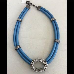 """NIB Joan Boyce Crystals Blue """"Leather"""" Necklace"""
